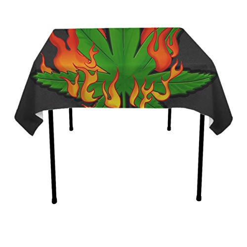 Soft Tablecovers for Holiday Dinner, Buffet Table, Restaurant - Marihuan Leaf Fire Dust-Proof Wrinkle Free Table Protectors Polyester Dinning Tabletop Decoration
