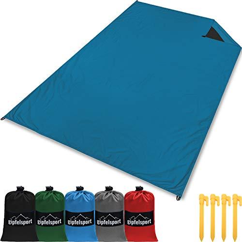 gipfelsport Picknickdecke - Outdoor Picknick Decke I Stranddecke, wasserdicht, waschbar, sandfrei I 200x140cm groß I blau