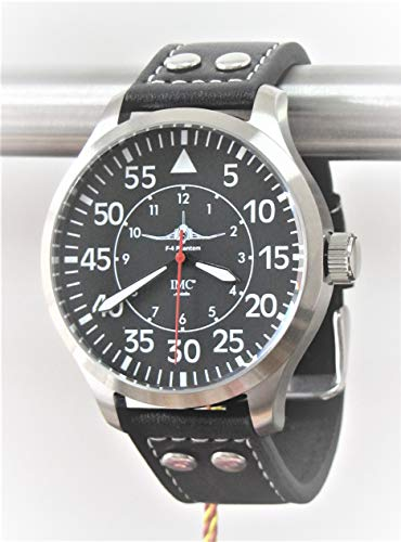 IMC Fliegeruhr Phantom Männer Herren Armbanduhr Uhr Lederarmband Gehäuse aus Edelstahl