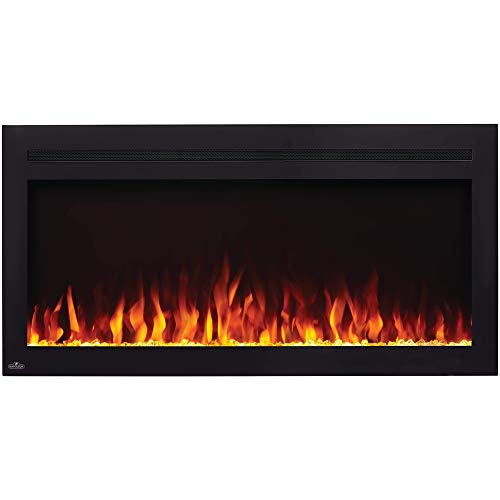 Napoleon NEFL42HI Purview 5000 BTU 1500 Watt 42 Inch Linear Electric Wall Mounted Recessed Fireplace with Remote, Heater, and Color Changing Flame electric Fireplace recessed