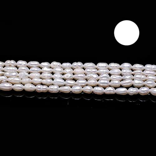 Perlas de agua dulce naturales Perlas sueltas de forma de arroz de alta calidad Perlas sueltas para bricolaje Collar elegante Pulsera Fabricación de joyas-A, 6-7 mm