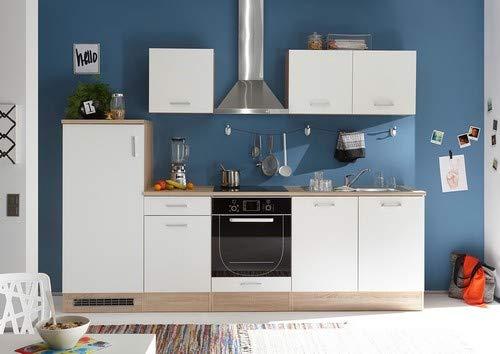 Stella Trading Andy - Blocco da Cucina in Rovere Sonoma/Bianco Opaco, Senza elettrodomestici, ca. 270 x 195 x 60 cm