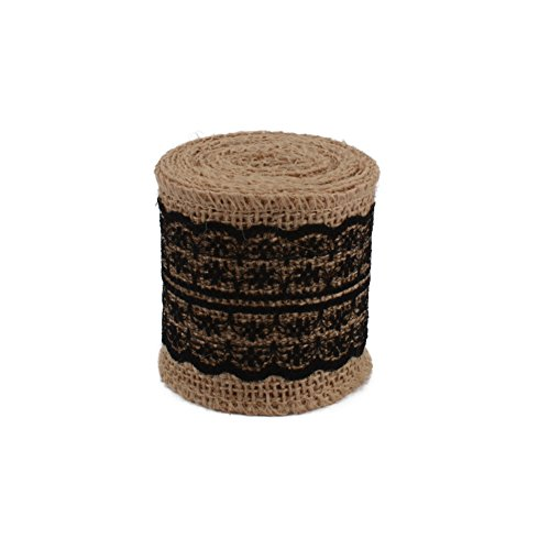 COOLAKE Burlap Lace Ribbon Natural Craft Ribbon Roll with Black Lace for DIY Handmade Wedding Crafts Decoration 78 inch