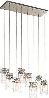 Kichler 42890NI Brinley Linear Chandelier 8-Light, Brushed Nickel