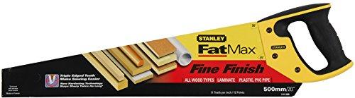 Stanley JetCut Handsäge fein (500 mm Länge, 11 Zähne/Inch, Bi-Material, Hardpoint-Verzahnung, 45°/90°-Anschlag) 2-15-599