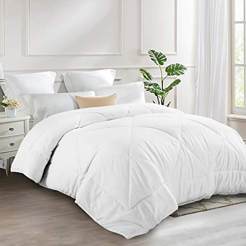 INGALIK All-Season Bed Comforter Best Soft Down Alternative Quilted Comforter - Winter Warm - Machine Washable (White, Queen 88 x 88 inches)