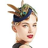 Coucoland Feder Fascinators Hut Damen 1920s Stirnband Elegant Fascinator Pfau Feder Haarreif Cocktail Tee Party Greaty Gatsby Party Damen Fasching Kostüm Accessoires (Navy)