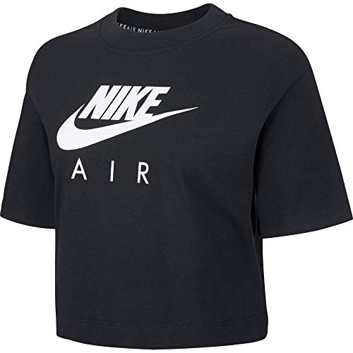 Nike W NSW Air Top SS T-Shirt Femme Black FR: M (Taille Fabricant: M)
