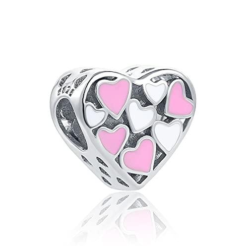Colgante De Plata De Ley 925 Color Rosa Blanco Corazón Diy Bead European Pandora Charm Pulseras Accesorios De Joyería Regalo De Cumpleaños