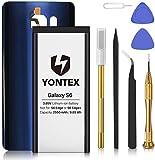 YONTEX Batería para Samsung S6 SM-G920F EB-BG920ABE nueva batería de repuesto polímero de litio para Galaxy S6, con toolset, carcasa de cristal de repuesto (azul)