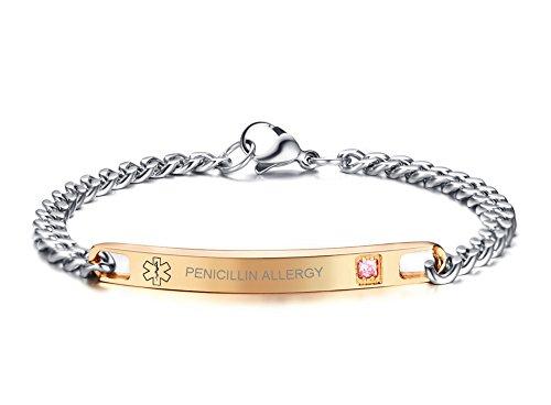 VNOX Medical Jewelry Rose Gold Plated CZ Stainelss Steel PENICILLIN Allergy Link Bracelet for Women Girl,7.6'
