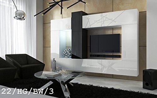 FUTURE 22 Moderno Conjunto De Muebles De Salón, Exclusiva Unidad De Entretenimiento, Mueble TV, Suite A Estrenar, Gran Variedad De Colores (Iluminación RGB LED Opcional) (22_HG_BW_3, Blanco LED)
