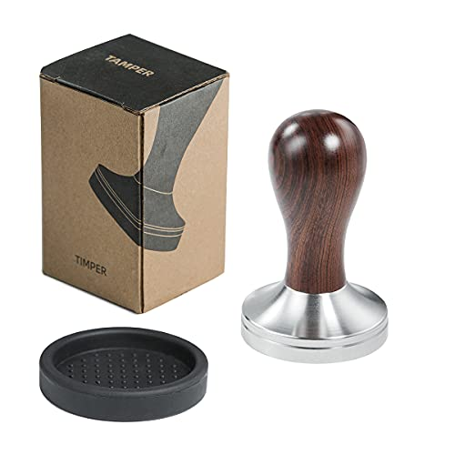 51mm Coffee Tamper Espresso Press with Tamper Mat 304 Stainless Steel Flat Base Wooden Handle for Coffee Grounds Barista Espresso Machines Accessory