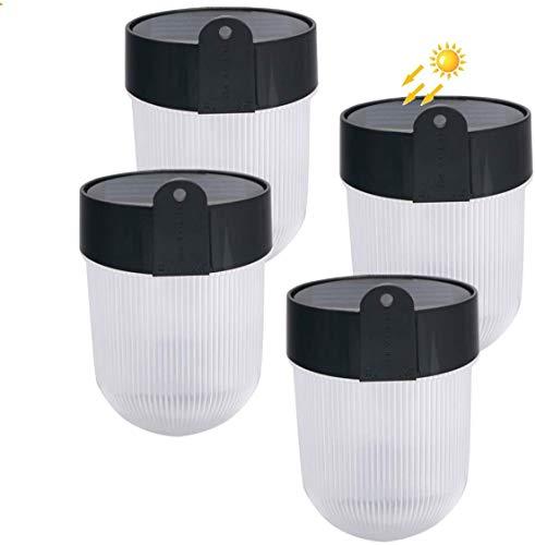 LED Solarleuchte Wandleuchte Außen Zaun Licht IP65 Wasserdicht Automatische Ein/Aus (Helligkeitssensor) für Tür Veranda Treppe Stufen (4 Stück)