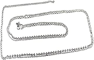 Pearl Paradise Rhodium Finish Silver Plated Cubic Zirconia Kamar Patta Belly Chain for Women