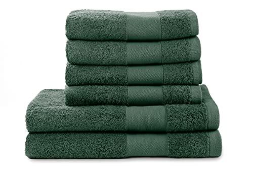 jilda-tex Handtuch Duschtuch Gästetuch Badematte Set Soft Cotton 100% Bio-Baumwolle GOTS (Dunkelgrün, 6er-Set Hand-/Duschtuch(4x50x100 cm + 2x70x140 cm))
