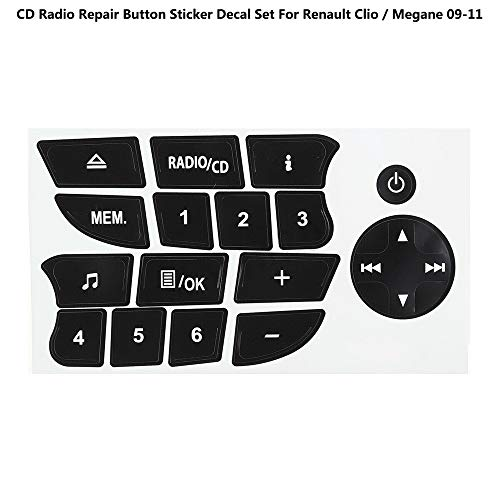 GAOHOU 1 Hoja de Reemplazo de Audio CD Radio Botón Reparación Calcomanías Pegatinas para Renault Clio/Megane 09-11