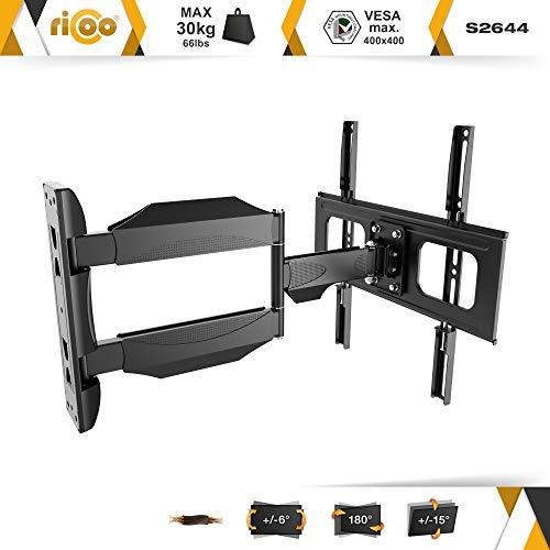 RICOO TV Wand-Halter Wand-Halterung Schwenkbar Neigbar S2644 Curved LED LCD OLED 4K Fernseh-Halterung Flach für Flachbild-Fernseher Bildschirm Schwenk-Arm Wohnwand Moebel VESA | 200 | 400 | mm - 2