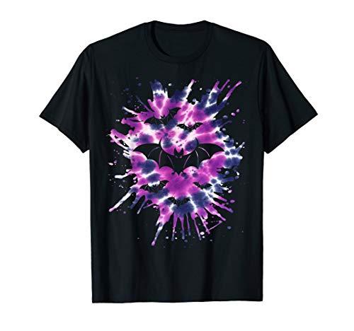 Lila Krawatte Färbung Fledermäuse Hippie Halloween T-Shirt