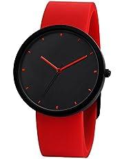 NUOVO メンズ 腕時計 レッド シリコン シンプル ブラック 文字盤 アナログ ウオッチ 時計 男女兼用