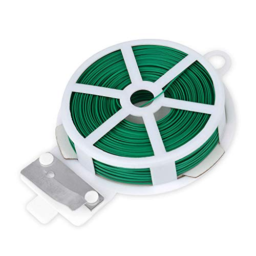 Easytle Twist Ties 164ft (50m), Green Coated Garden Plant Ties with Cutter for Gardening and Office Organization, Home