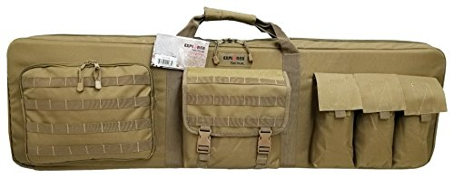 Explorer 46' PAT3 Military Outdoor Ranger Double 3 Rifles Weapon Gun Case Padded long Tactical Carrying Military Backpack Bag with YKK Zippers with Storage MOLLE Pouches 4 Pistol Cases