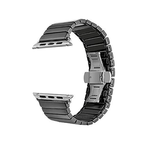 PULLEY Correa compatible con Apple Watch de 38 mm, 40 mm, 42 mm, 44 mm, iWatch Series 5, 4, 3, 2 1, pulsera de repuesto para mujeres y hombres (color negro, tamaño: 40 mm)