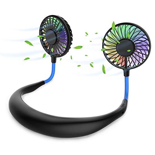 Tragbarer Ventilator, Mini USB Ventilator Hände, Wiederaufladbarer Tragbarer NackenbügelVentilator, SchreibtischVentilator, Ventilator Mit Bügel für Den Nacken, 3 Geschwindigkeiten, LED-Licht