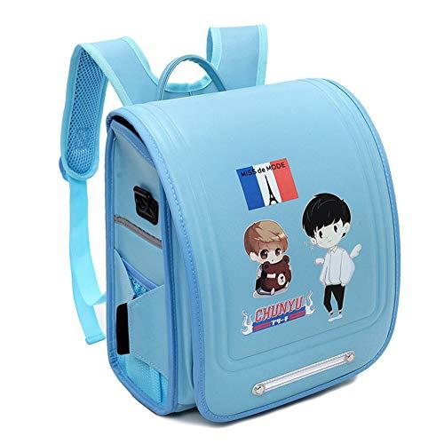Schulranzen/Schulranzen für Jungen und Mädchen, wasserdicht, aus PU, klassisch, hohe Kapazität, japanischer Stil, Handtasche mit Anti-Diebstahl, leuchtende Streifen Gr. L, himmelblau