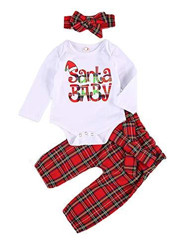 Geagodelia Vestito Natale Neonata 3 Pezzi Completo Neonata Pagliaccetto Manica Lunga Santa Baby+Pantaloni Scozzesi Rossi+ Fascia con Fiocco Abito Bambina di Natale (Bianco+Rosso, 0-6 Months)