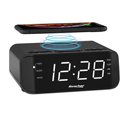 REACHER FM Radiowecker mit Kabelloser Ladestation, USB Ladestation, Digitales Großes LED Display mit Dimmer, Einstellbare Alarmtöne, Snoozefunktion, Schlaftimer für Schlafzimmer(Schwarz)