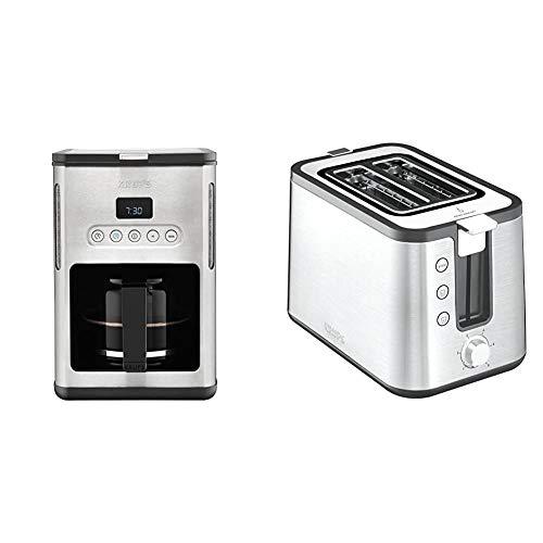 Krups KM442D Premium Filter-Kaffeemaschine, 10-15 Tassen, 1,000 W, programmierbar, edelstahl / schwarz & KH442D Control Line Premium Toaster, 2-Schlitz Toaster, Brötchenaufsatz silber/schwarz