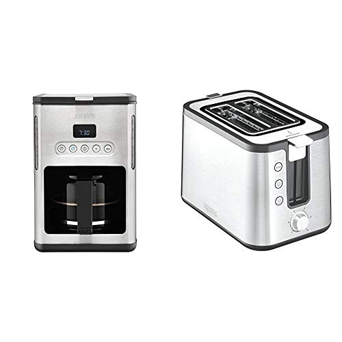 Krups KM442D Premium Filter-Kaffeemaschine, 10-15 Tassen, 1,000 W, programmierbar, edelstahl / schwarz & KH442D Control...