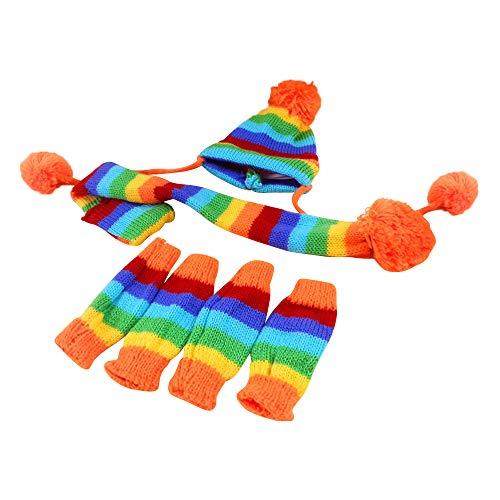 GZQ Hund Schal Weihnachten, Regenbogen gestreifte Mütze Strickmütze Socken Schal Bein für Haustier Hund Katze Winter Warmer