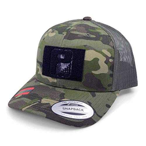 Pull Patch Tactical Hat | Authentic Snapback Multicam Curved Bill Trucker Cap | 2x3 in Hook and Loop Surface to Attach Morale Patches | 6 Panel | Tropical Camo and Green | Free US Flag Patch Included