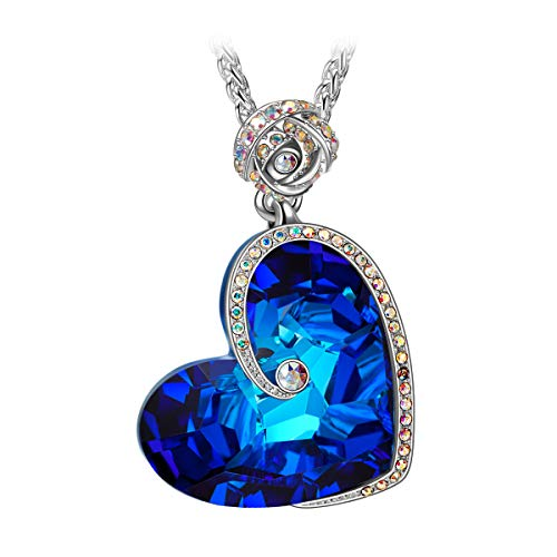 J.NINA Christmas Necklace Gifts Heart Pendant Big Blue...