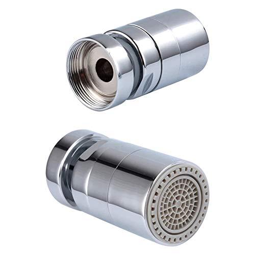 Berket, rubinetto girevole a 360°, multifunzione, a doppio flusso, per bagno e cucina, con aeratore per risparmio idrico, con filettatura maschio 27UNS, argento