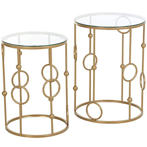 homcom Set 2 Pezzi Tavolini da caffè Design Elegante con Motivi a Cerchio, Metallo e Vetro Temperato Φ41x57cm & Φ36x51cm