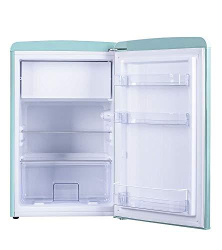 Amica Retro Kühlschrank Blau KS 15612 T A++ 106 Liter mit Gefrierfach Standgerät Ice Blue