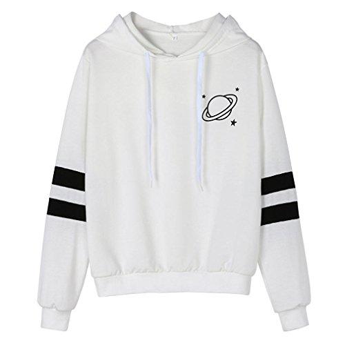Covermason Sweat Shirt Hooded Sports Femmes Automne Tops À Manches Longues Encapuchonné Sweat-Shirt Imprimé Rayures Sweats À Capuche Blouson Casual Pull Elegant Chemisier Streetwear (XL, Blanc)