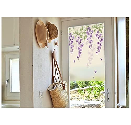 MSLZQMX Flores De Glicina Vinilo para Ventanas De Privacidad - Película Electrostática No Adhesiva Y Opaca Decorativa para Ventanas De Cocinas Dormitorios 80x120cm