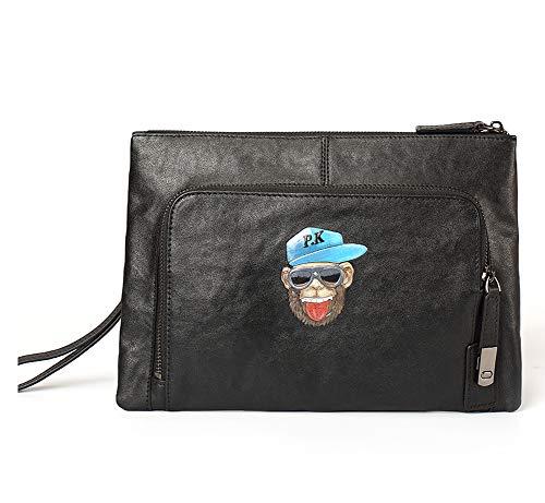Men's bag Sacs de soirée Pochette pour homme Grands bracelets Porte-monnaie en cuir Portefeuille Zipper Business Sacs à main pour femmes wallet-black-Onesize