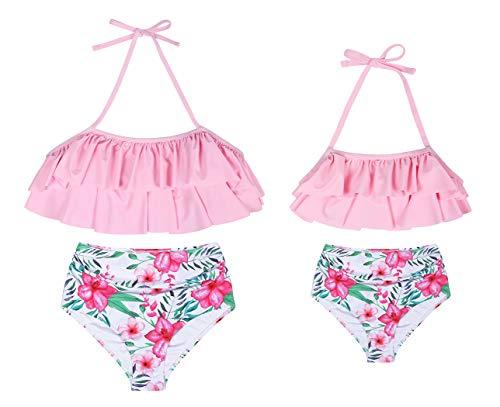 WonderBabe-Familie für kleine Mädchen Bedruckte Zweiteilige Badeanzüge mit einfarbigem Rüschenhalfteroberteil und hoch tailliertem Unterteil-Schwimmoutfit Pink 4-5 Jahre