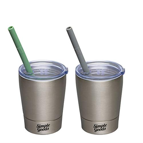 Simple Goods 2 Pack Kids Stainless Steel Sippy Cup Tumbler with Straw