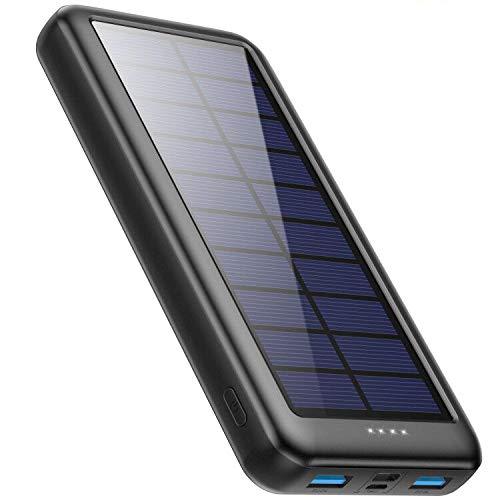 Trswyop Solar Powerbank 26800mAh, Solar Ladegerät 【3 Eingang mit Type C】 Power Bank USB-C Hohe Kapazitat Externer Akku mit 2 Ausgängen Tragbares Solar Akkupack für iPhone,iPad, Samsung, Huawei mehr