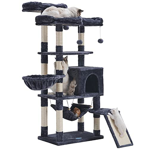 Hey-brother Multi-Level Cat Tree, Large Cat Tower with Bigger Hammock, 3 Cozy Perches, Scratching Posts, Stable for Kitten/Gig Cat Smoky Gray MPJ0026G