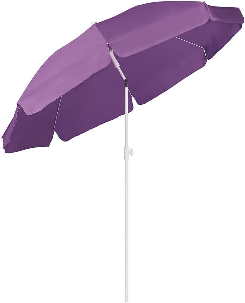 Sekey® Sombrilla Ø 200 cm Parasol para terraza jardín Playa balcón Piscina Patio, Protector Solar UV25+ (Púrpura)