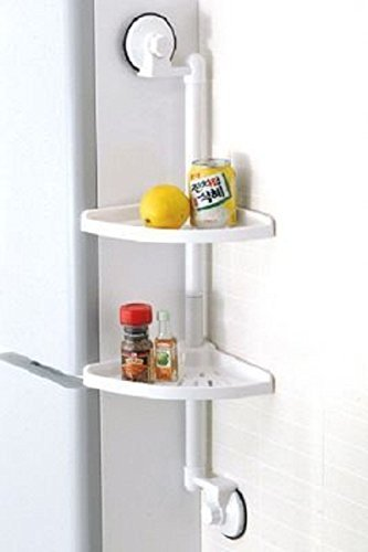Insasta White Plastic 2 Layer Shelf Caddy Bath Corner Storage Organizer