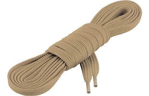 Ladeheid Qualitäts-Schnürsenkel LAKO1001, Flachsenkel für Arbeitsschuhen und Sportschuhen aus 100% Polyester, ca. 7 mm Breit, 18 Farben, 60-200 cm Länge, Beige232, 190cm