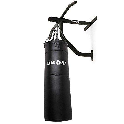 KLAR FIT First Strike Saco de Boxeo y Barra de dominadas - Entrenamiento Multifuncional, Gimnasio en casa, Mosquetón para Saco, Zona de Impacto 80x30cm, Carga máx. 350kg, Set de Montaje, Negro